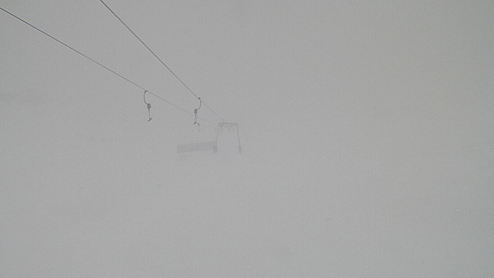 A chairlift at Thredbo was barely visible by 10am today. (Thredbo)