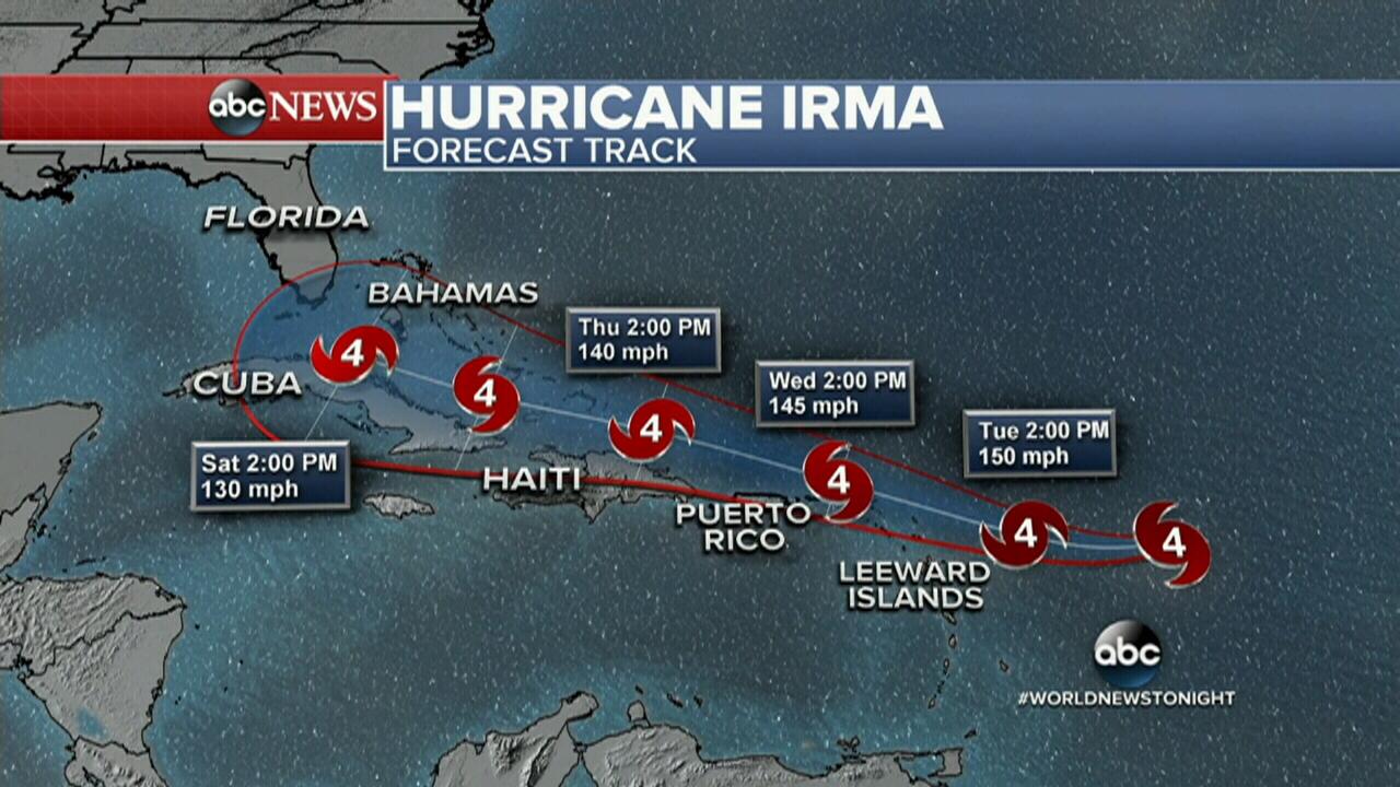 Hurricane Irma is on track to hit Florida. (ABC America)