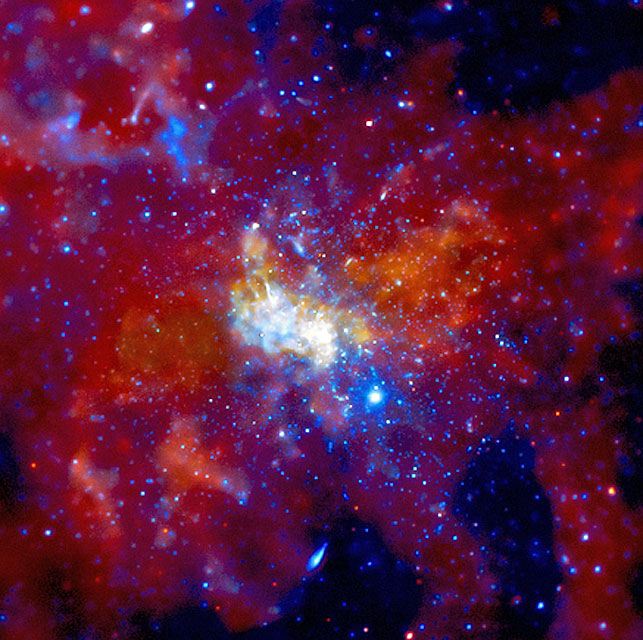 This NASA image shows the black hole Sagittarius A in the heart of the Milky Way