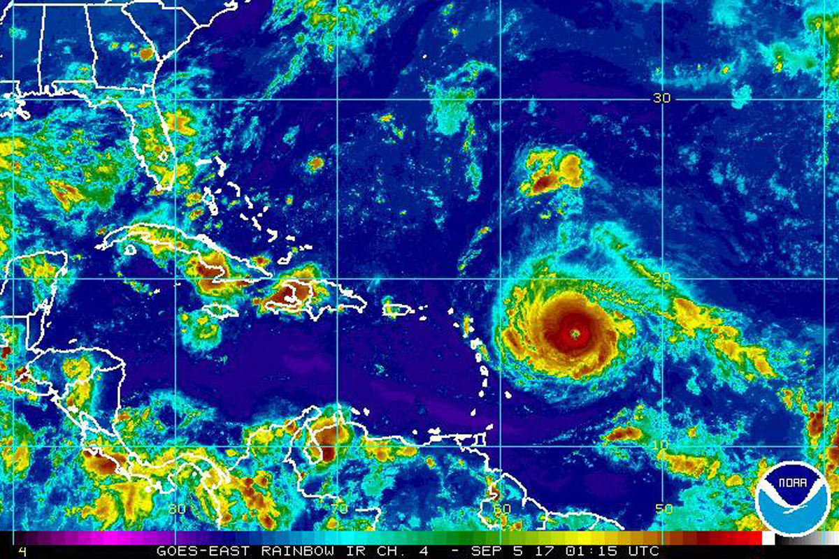 satellite image provided by the National Oceanic and Atmospheric Administration shows Hurricane Irma nearing the eastern Caribbean. (NOAA)