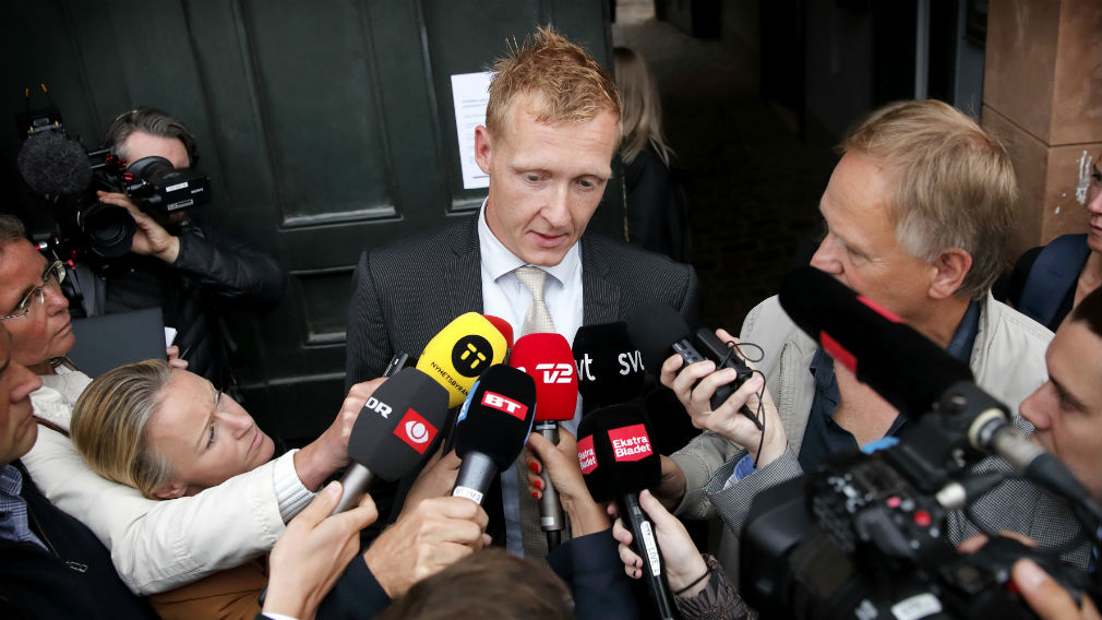 Prosecutor Jakob Buch-Jepsen addresses the media in front of the District Court of Copenhagen on Tuesday. (AAP)