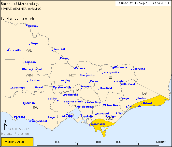 A severe weather warning remains in place for parts of Victoria. (BoM)