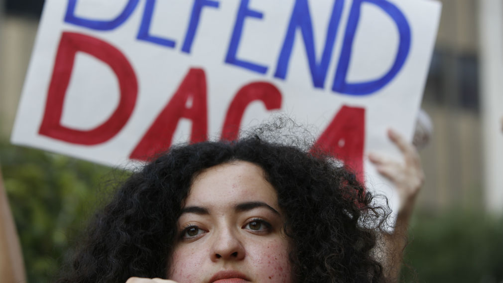 Loyola Marymount University student and dreamer Maria Carolina Gomez joins a rally in support of the Deferred Action for Childhood Arrivals, or DACA program. (AAP)