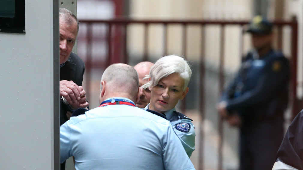 Gregory Keith Davies arrives in a prison van at the Melbourne Supreme Court earlier this year.
