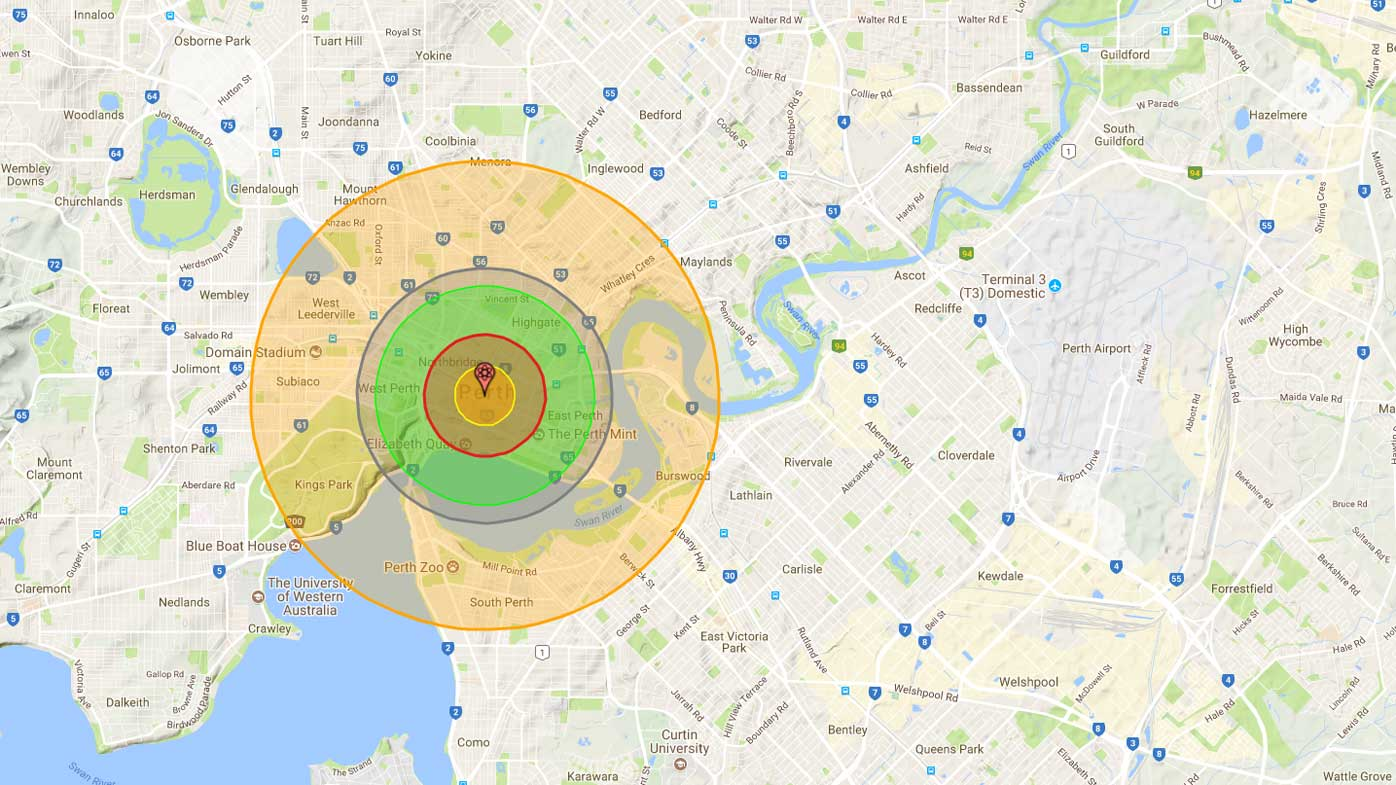 The impact of a nuclear bomb dropped on Perth. (Nukemap)