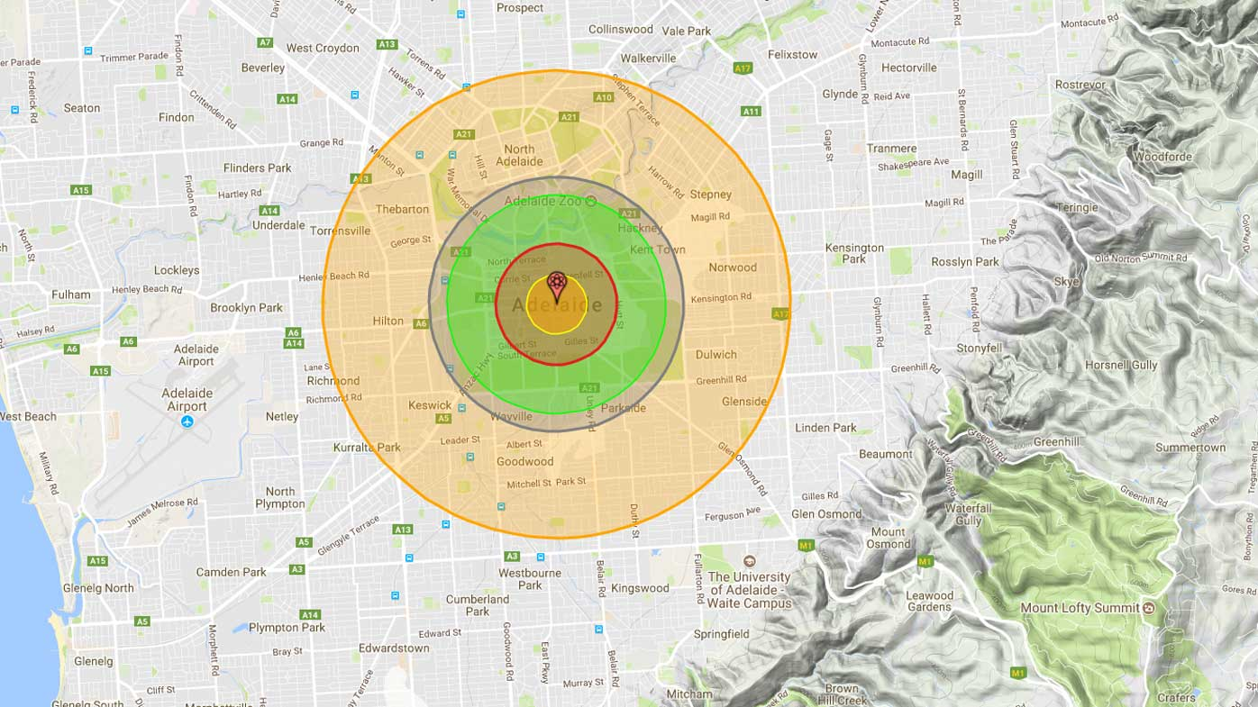 How Adelaide would be affected by a nuclear attack. (Nukemap)