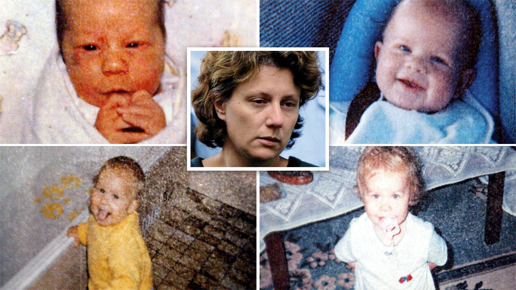Kathleen Folbigg (centre) and her four children (clockwise from top left) Caleb, Patrick, Sarah and Laura. (Images: AAP)
