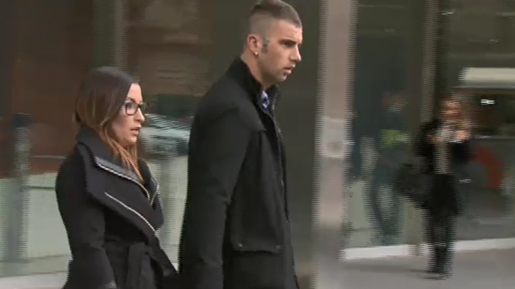 Ashlea Allen and her partner leave court today after the sentencing. (9NEWS)