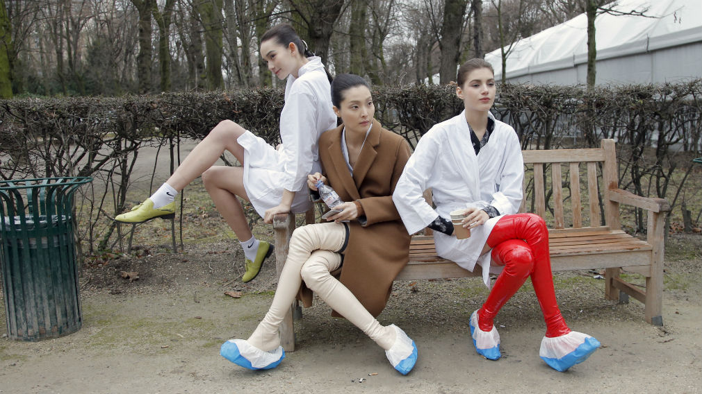 Models take a rest backstage after the Christian Dior's Spring-Summer 2015 Haute Couture fashion collection presented in Paris. (AP)