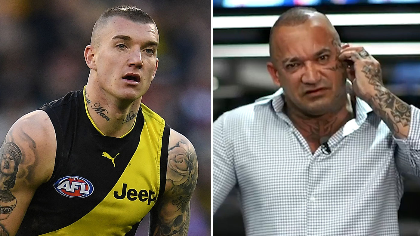 The father of AFL footy star Dustin Martin will be banned from entering Australia to watch his son play.