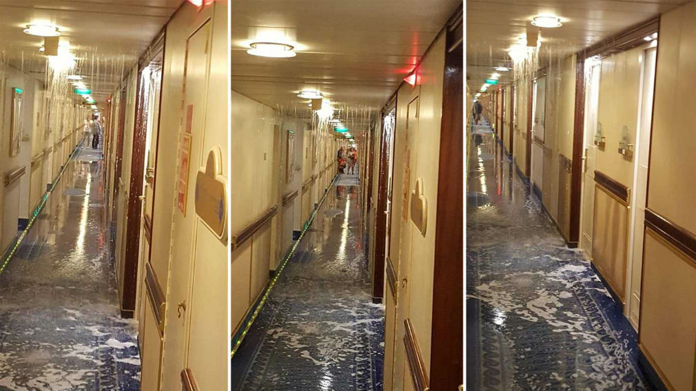 Water flooded into the halls. (Supplied)