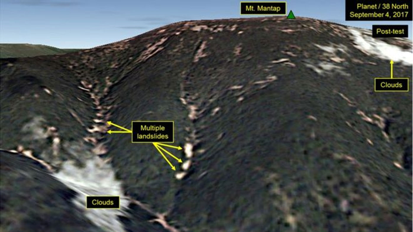 Radiation fears after images from North Korea test site appear to show landslides