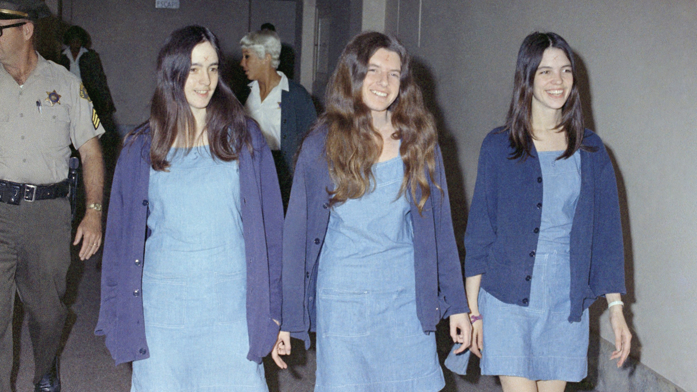 Charles Manson followers, from left: Susan Atkins, Patricia Krenwinkel and Leslie Van Houten, walk to court to appear for their roles in the 1969 cult killings of seven people.