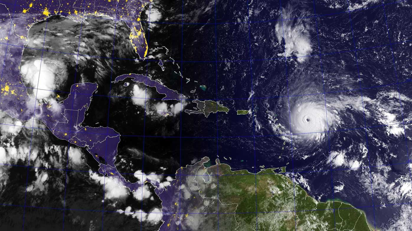 Hurricane Katia (far left) forms as Irma heads west as Jose develops in the bottom right. (NOAA)