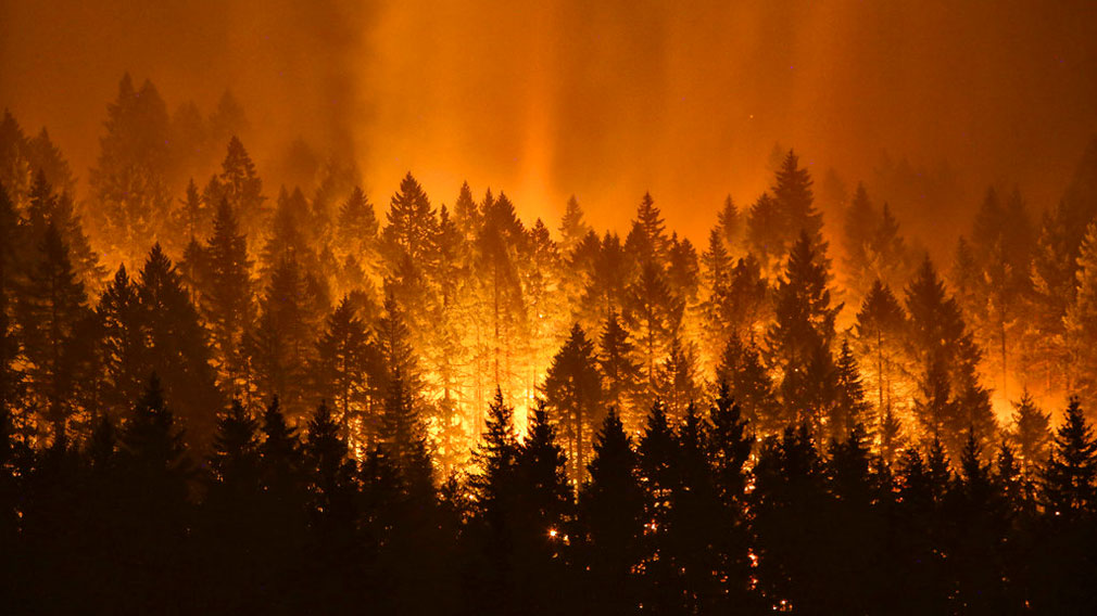 A wildfire continues to burn on the Oregon side of the Columbia River Gorge. (AP)