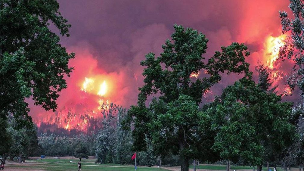 Golfers tee-off as the huge blaze burns through bush. (Facebook: Beacon Rock Golf Course)