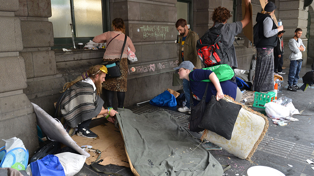 Victoria police evicted hundreds from a makeshift camp outside Flinders Street station in Melbourne in February. (AFP)