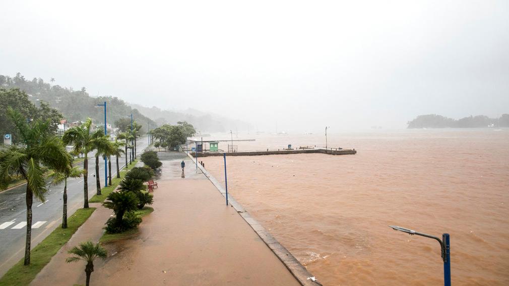 man walks by the waterfront as Hurricane Irma approaches Samana, Dominican Republic. (AP)