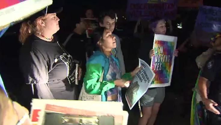 The protest was held after the High Court ruling yesterday. (9NEWS)