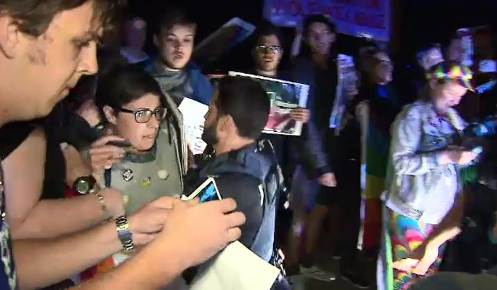 Police were called to the protest last night. (9NEWS)