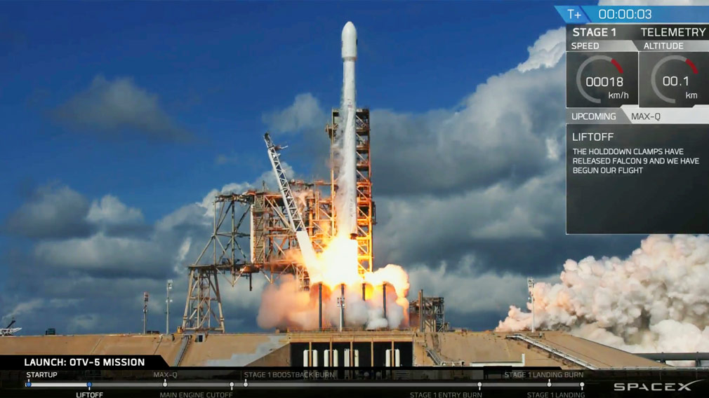 A frame from video provided by SpaceX captures an unmanned Falcon rocket launching from Florida's Kennedy Space Center. (SpaceX)