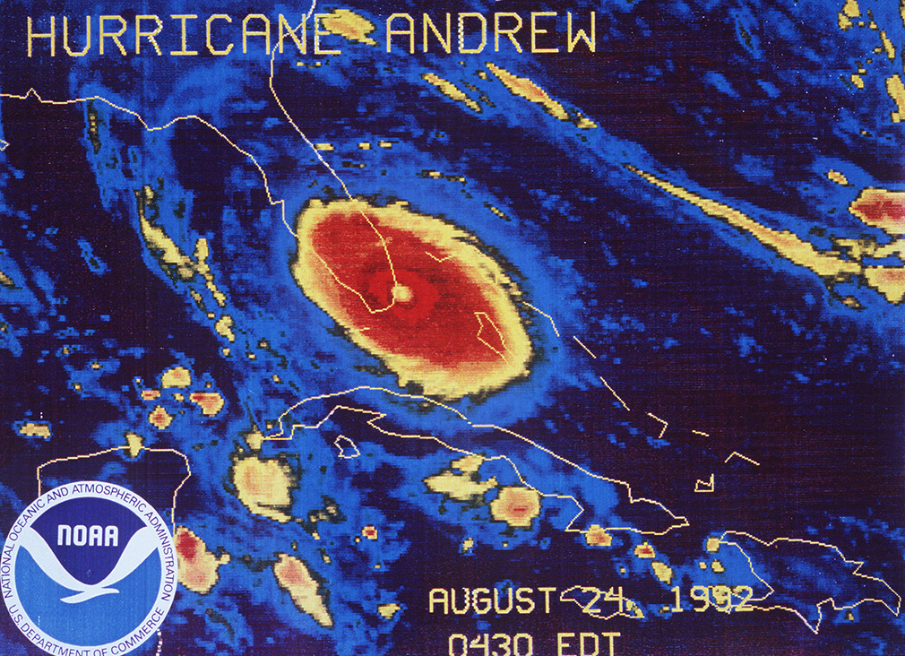 Hurricane Andrew approaching landfall south of Miami in 1992. (AP)