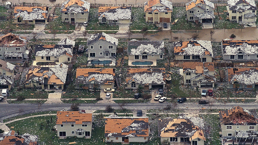Rows of damaged houses sit between Homestead and Florida City after Hurricane Andrew struck. (AP)