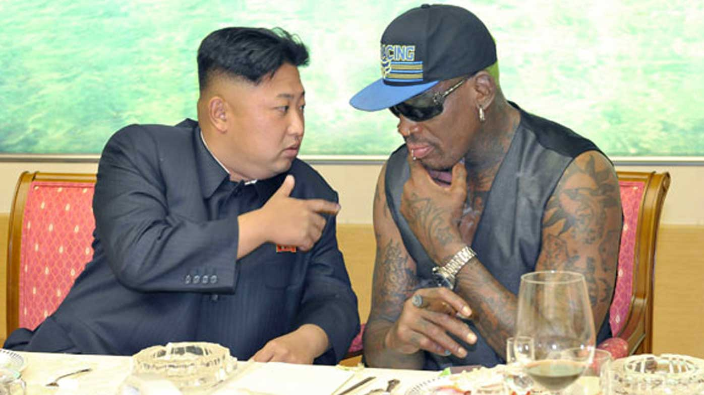 Kim Jong-un and Dennis Rodman determine who sings the girl's part in 'Don't Go Breaking My Heart'. (AAP)