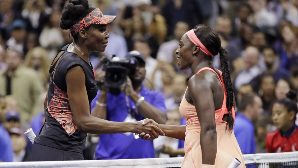 Venus Williams congratulates Sloane Stephens on her victory. (AAP)
