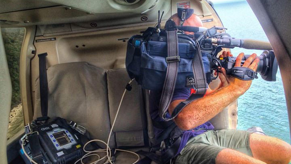 Filming from the air. (Image: 9NEWS)
