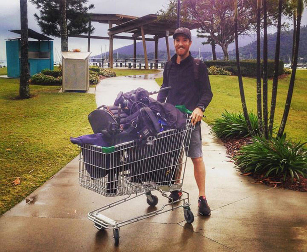 Camera operators need a lot of gear. In this photo, an abandoned trolley made an unlikely but convenient transport option in Airlie Beach. (Image: 9NEWS)