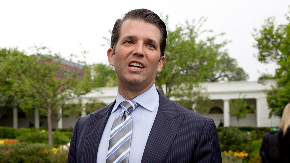 Donald Trump Jr, the son of President Donald Trump, speaks to media on the South Lawn of the White House in Washington on April 17, 2017. (AP)