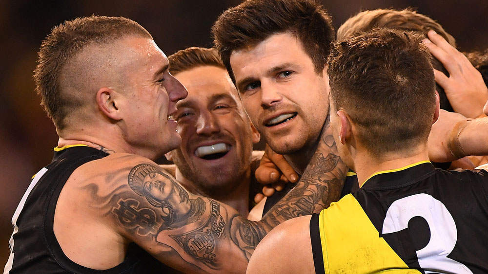 Trent Cotchin and the Richmond Tigers had reason to celebrate. (AAP)