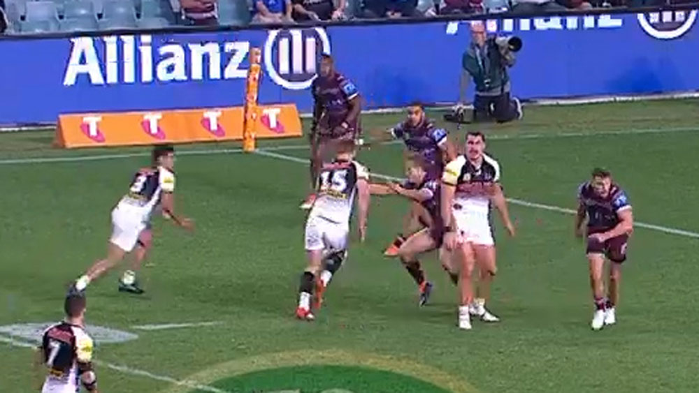 Tyrone Peachey scored the controversial try that gave Penrith the lead.