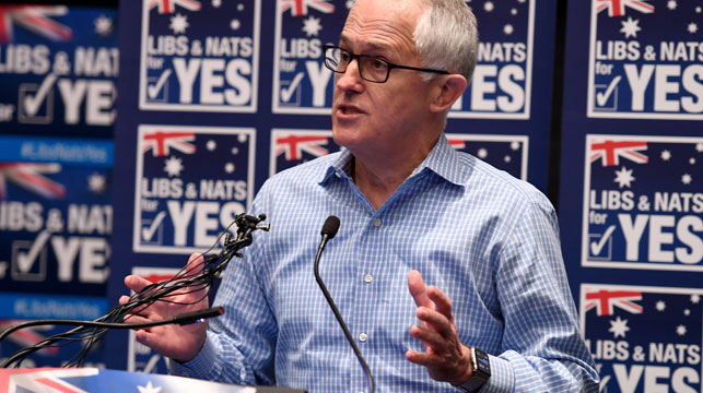 Malcolm Turnbull speaks at the Yes campaign launch in Sydney. (AAP)