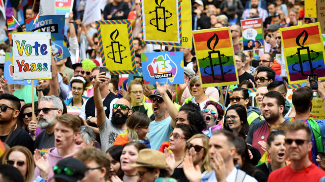 Same sex marriage advocates turned out in force in Sydney. (AAP)