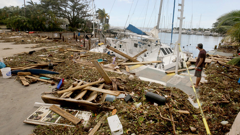 Damage cause by the storm in Florida Keys. (AAP)
