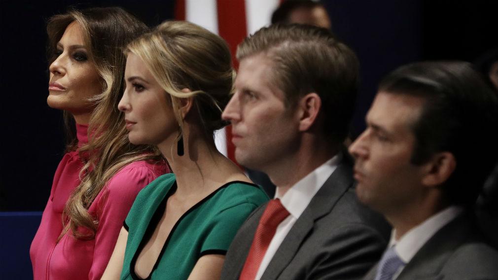 from left, Melania Trump, Ivanka Trump, Eric Trump and Donald Trump, Jr.  (AAP)