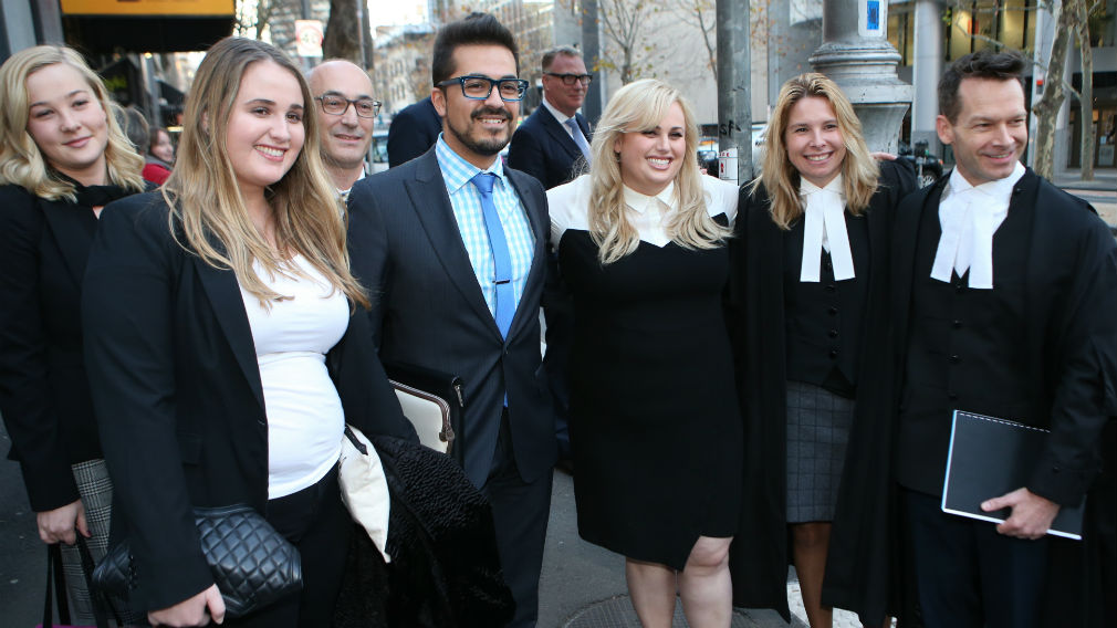 Rebel Wilson with her legal team as she leaves the Victorian Supreme Court after winning her case, Thursday, June 15, 2017. (AAP)