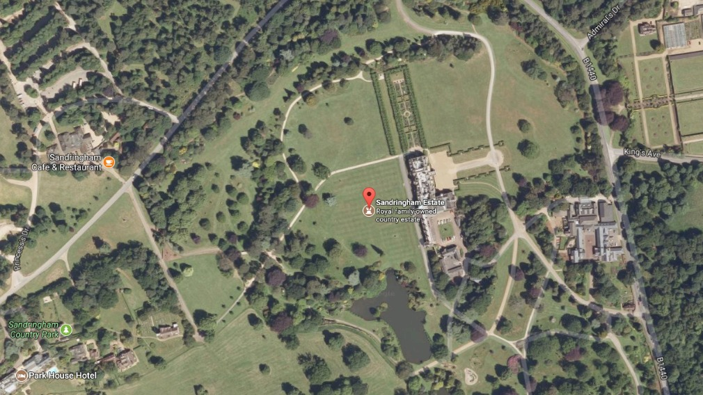 The sprawling Sandringham Estate is located in Norfolk, England. (Google Maps)