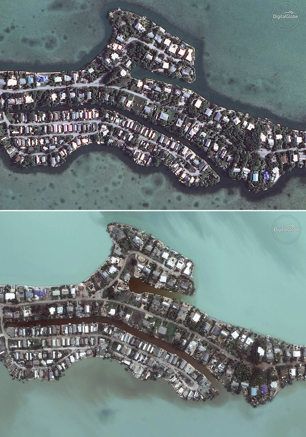 Satellite images provided by DigitalGlobe shows homes in Key West before and after Irma swept through. (AAP)