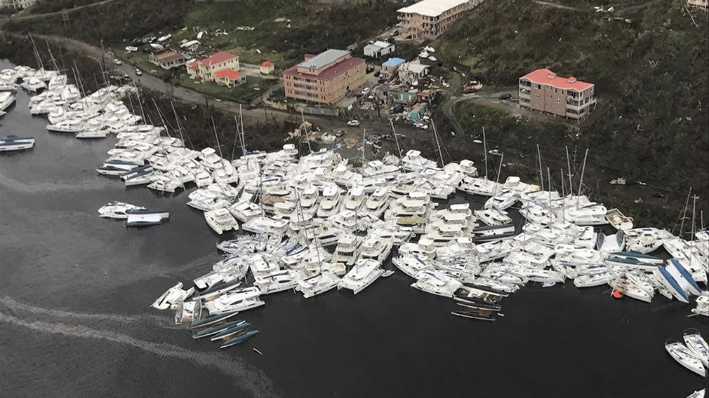 Boats clustered together after Hurricane Irma. (AAP)