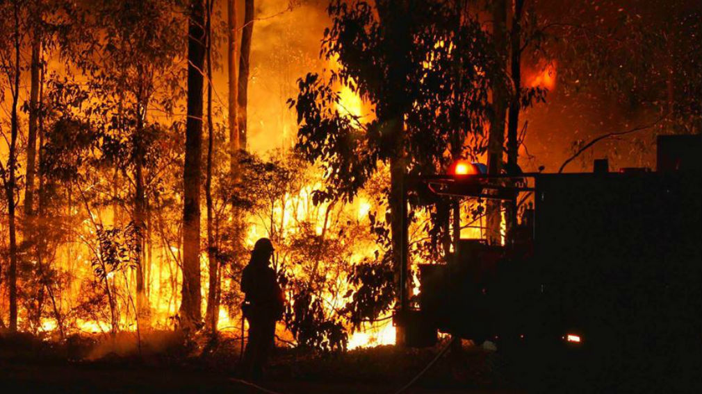 A firefighter working to control a blaze at Richmond Vale. (JWMEDIA)