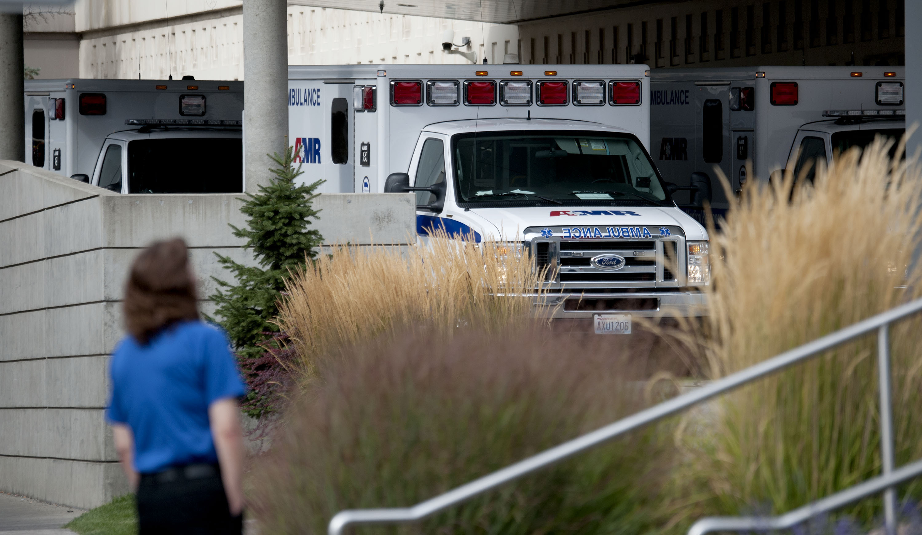 Ambulances line up in the emergency area of Sacred Heart Hospital following reports of the shooting at Freeman High School. (AP)