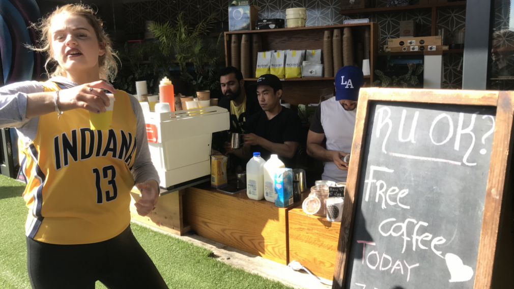 Staff at the cafe asked every customer 'Are you ok?' to spark discussion about mental health. (Sean Davidson / 9NEWS)