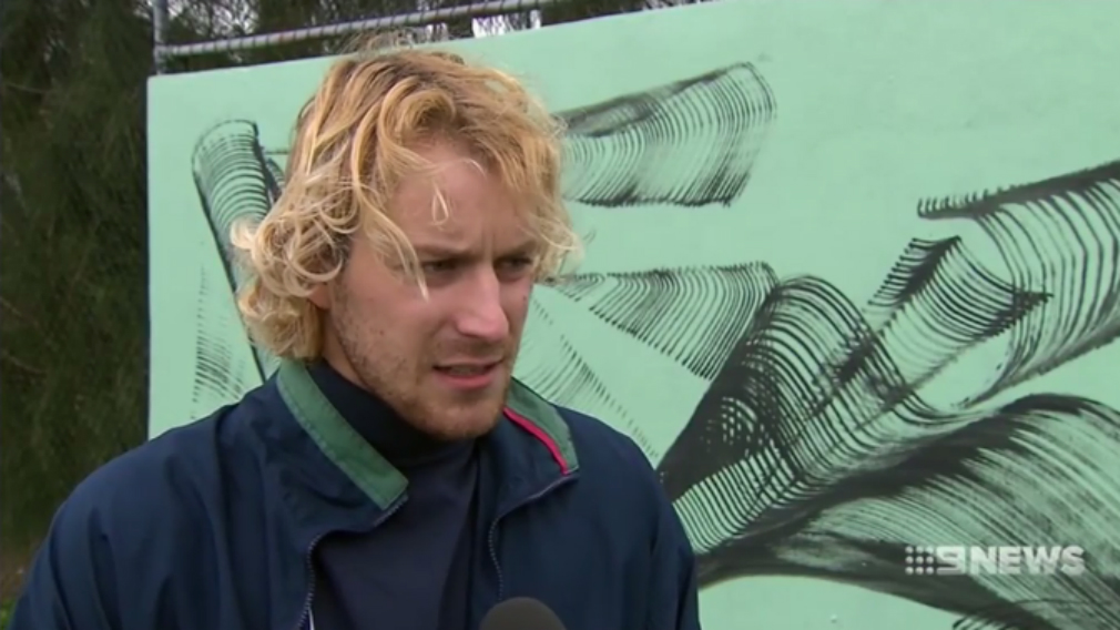 Street artist Mik Shida said he was dragged 700 metres. (9NEWS)