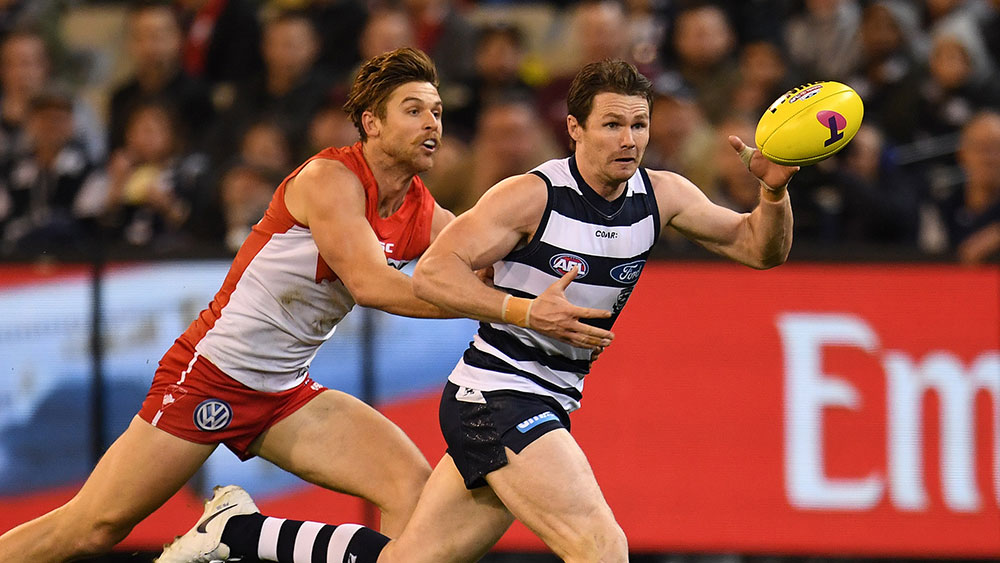 Patrick Dangerfield has kicked four goals. (AAP)