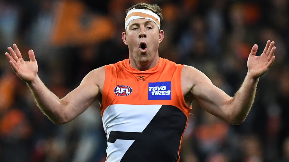 Steve Johnson starred for the Giants against West Coast. (AAP)