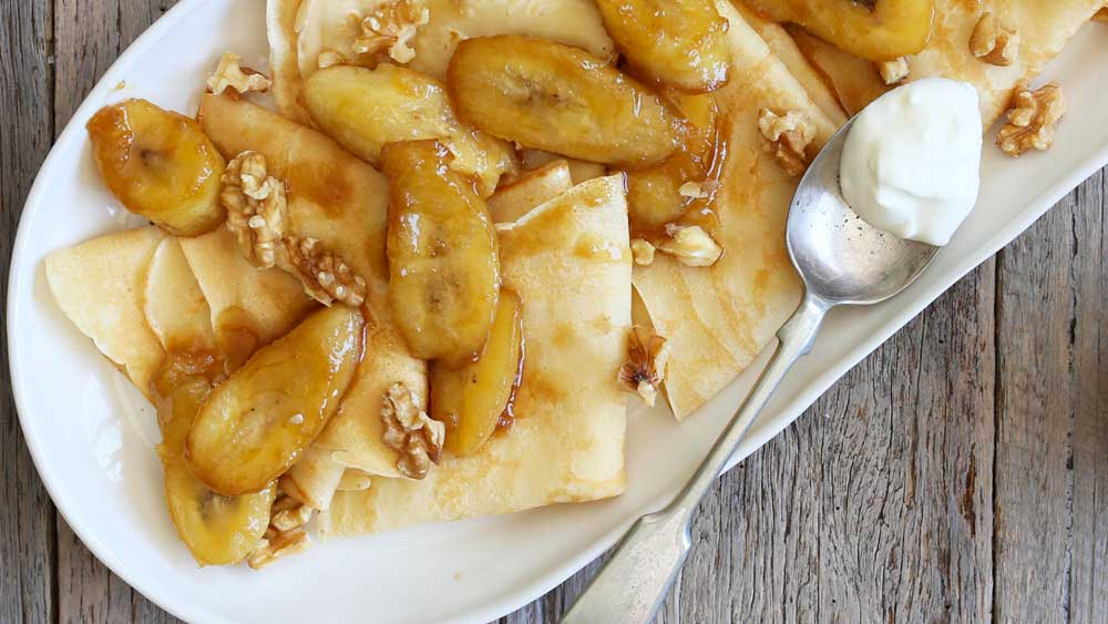 Caramelised banana crepes with yogurt and walnuts recipe by My Food Bag
