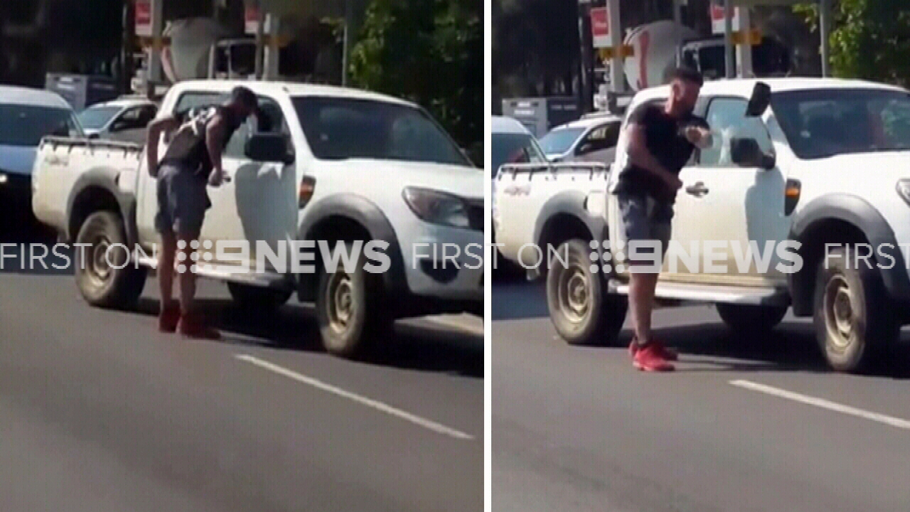 Man knocks side-mirror off car in wild road rage fit